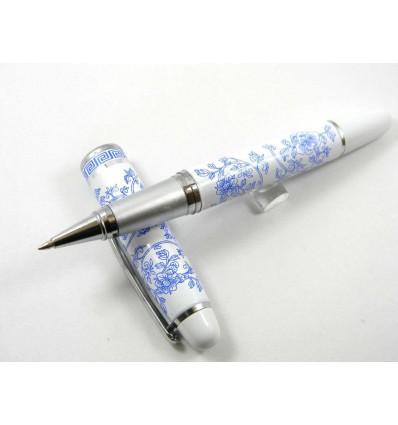 Le Stylo Fleuri - Blanc & Bleu