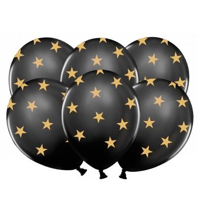 Ballons Stars - Noirs / Étoiles dorées