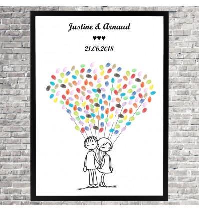 Arbre à empreintes Mariage « Charmant petit couple »