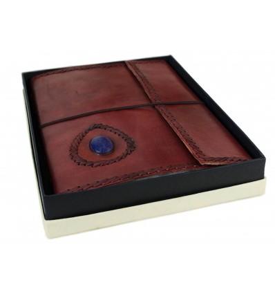 Grimoire cuir avec Lapis-Lazuli