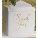 Urne avec titre « Love & Thank you » - Blanche et dorée