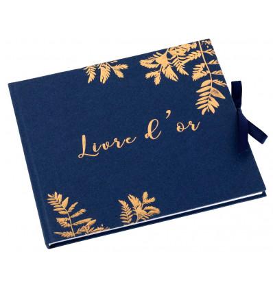 Livre d'Or « Fougères » - Cuivré & Bleu marine