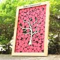 Tableau Livre d'Or avec Cœurs en Bois